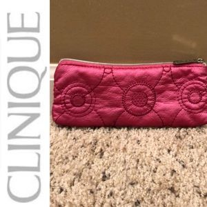 "Clinique pink cosmetic bag FUC 7.5""x3.3"""